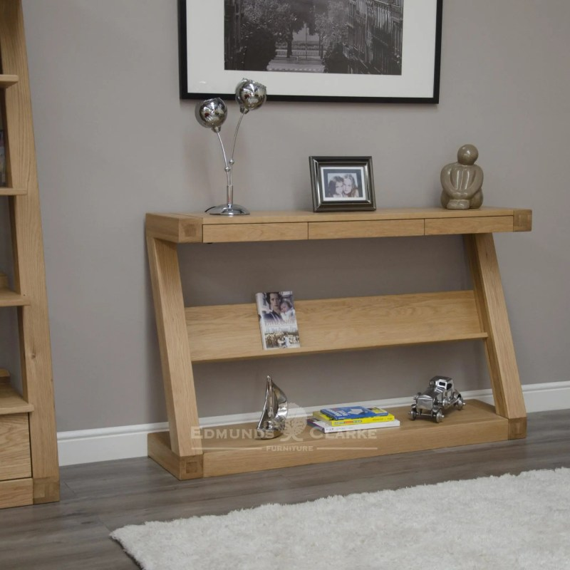 ZWDHT+D Z designer solid oak wide console table with shelf and three drawers