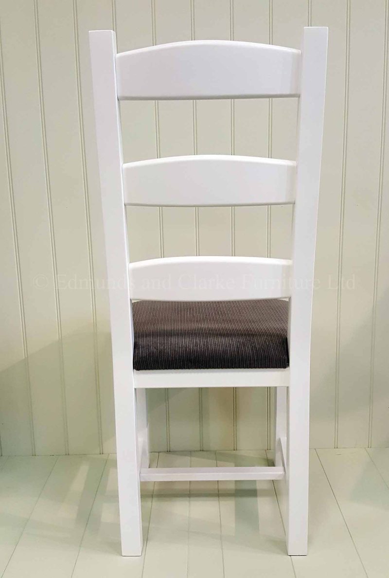Amish painted white dining chair with grey seat pad