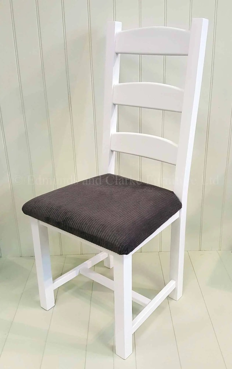 Amish painted dining chair with grey fabric seat painted white