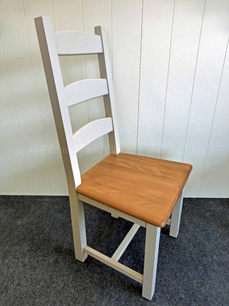 Amish dining chair painted grey with waxed wooden seat