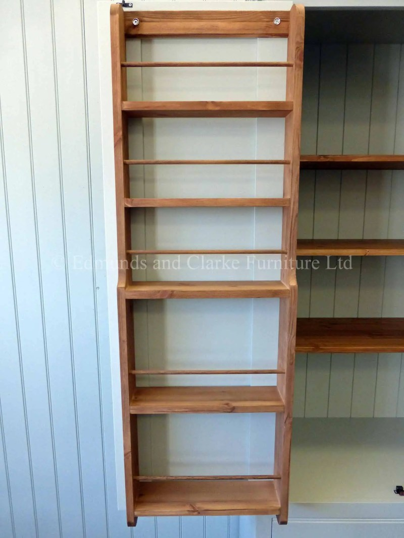 Painted larder cupboard with spice racks and adjustable shelves