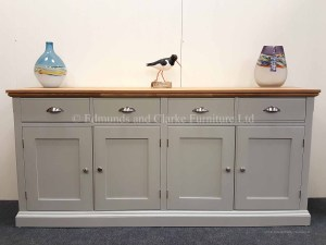 edmunds Painted 6ft Sideboard. hampton moulded oak to with satin nickel cup handles and knobs