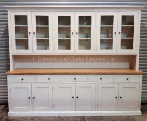 Edmunds painted 9ft half glazed dresser. very large dresser with 5 drawers 6 doors. oak top. 10 colours to choose from with various handle knob options only at edmunds clarke bury st edmunds
