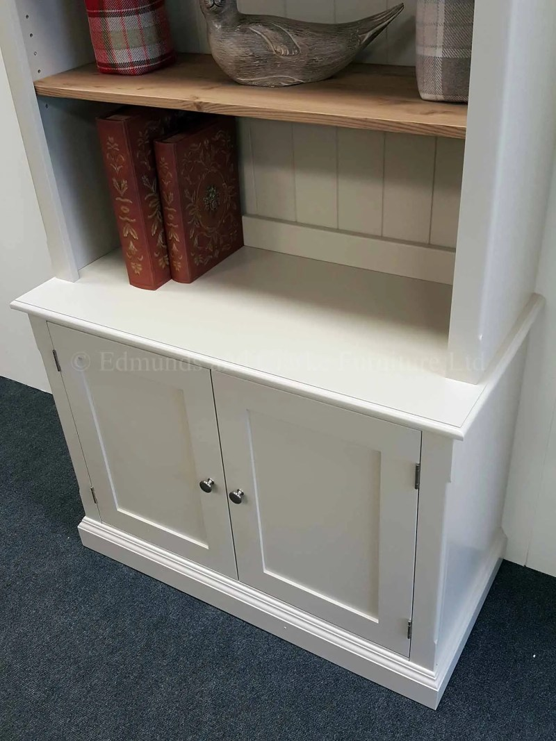 Edmunds two door library bookcase painted with waxed wooden shelves
