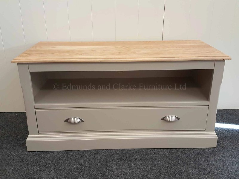 Grey painted tv unit one drawer with opening for sky box