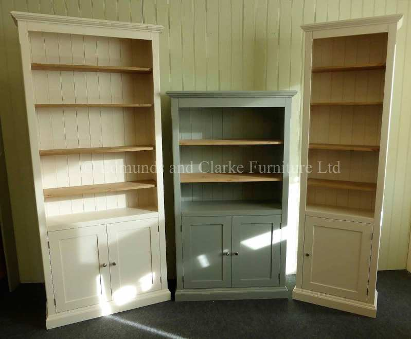 painted standard depth bookcases with cupboard. various sizes and widths available. 10 colours available with various handle knob options only at edmunds clarke bury st edmunds