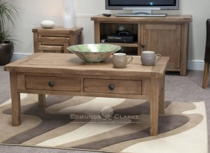 Lavenham solid oak coffee table with drawers