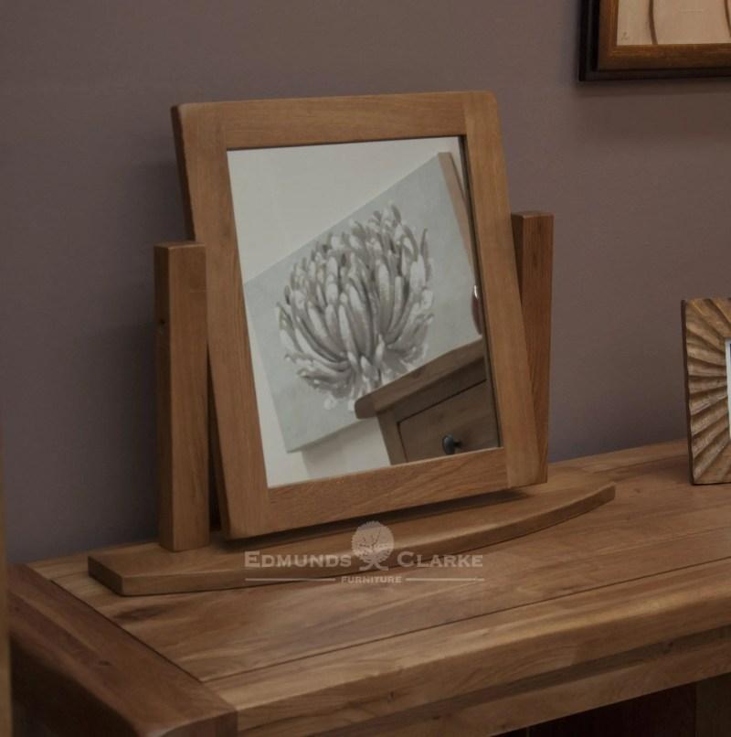 Lavenham Solid Rustic Oak Dressing Table Mirror. bevelled mirror glass