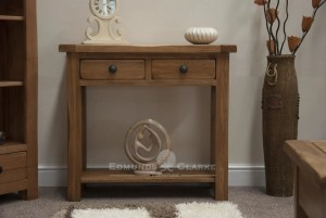Lavenham Solid Rustic Oak Hall Table. rustic handles and shelf below. 2 drawers and rounded off edges