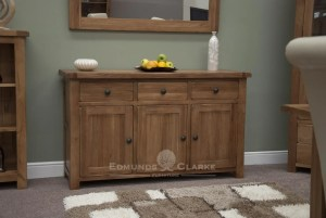 Lavenham Solid Rustic Oak Large Sideboard. 3 drawers