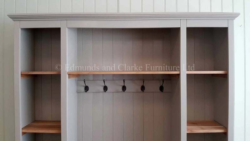 Bespoke hallway storage shelving with shoe storage and seat