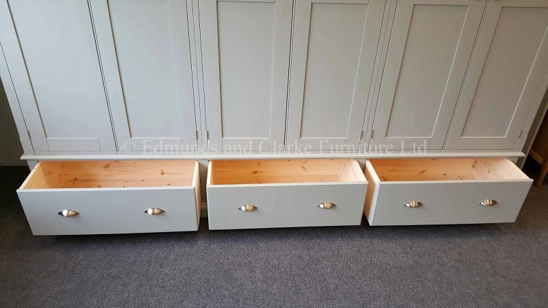 Six door wardrobe with three drawers below painted in a choice of colours