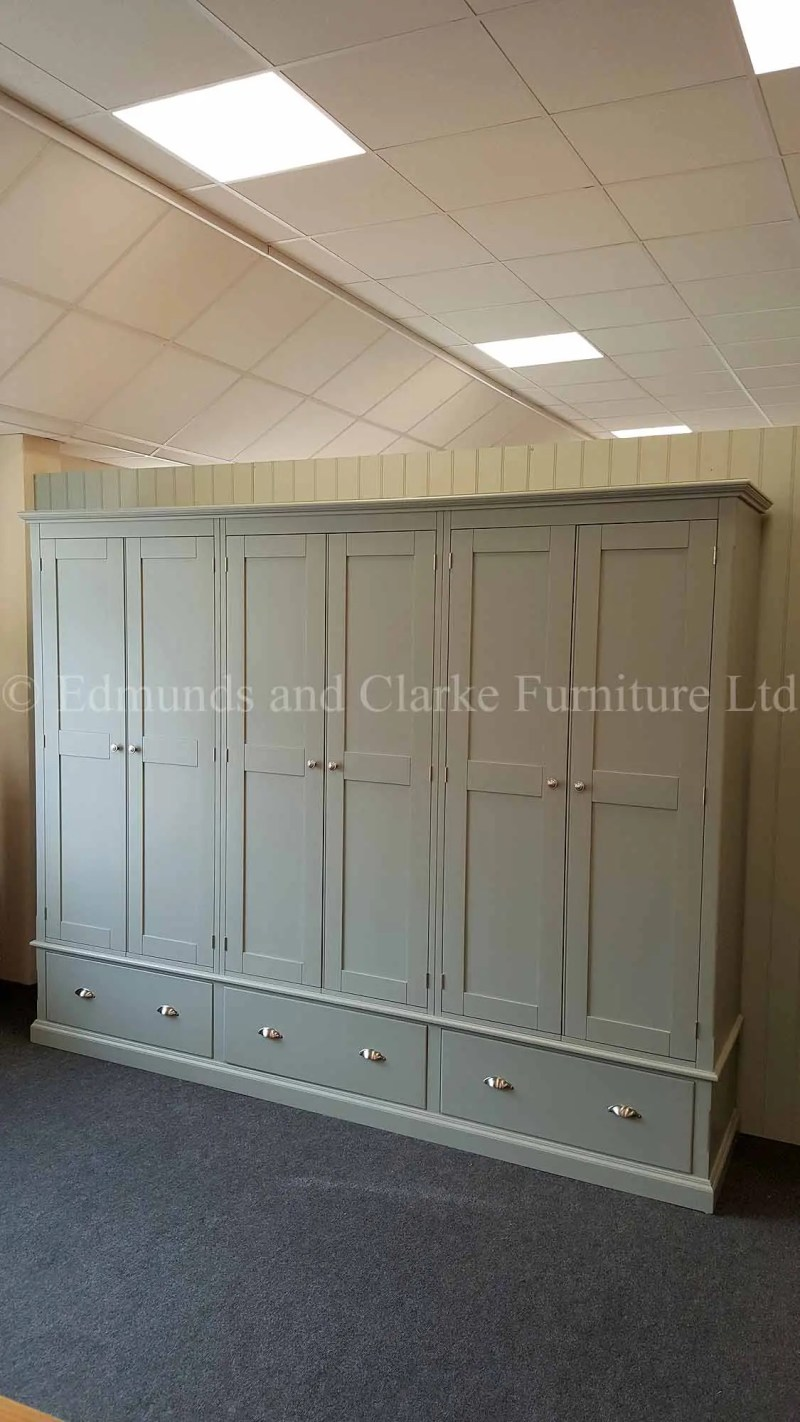 6 door painted wardrobe with 3 drawers below, can be made to measure