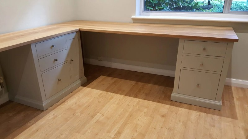 Bespoke made to measure large painted desk with solid oak top
