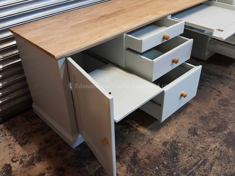 Large office workstation desk painted with oak top