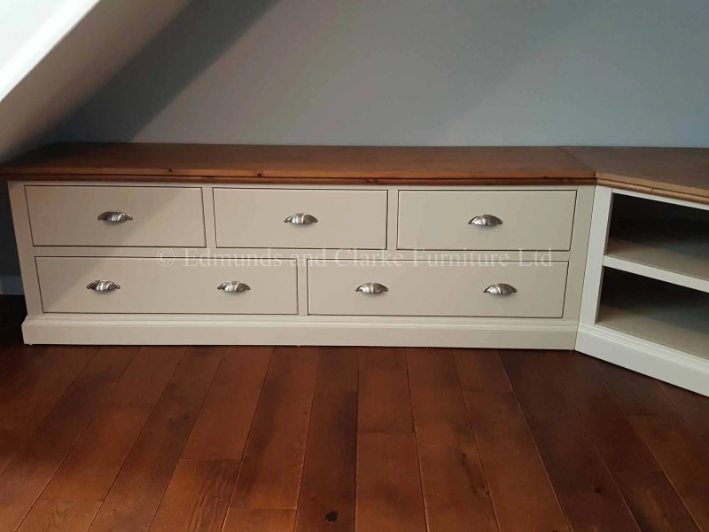 Bespoke television entertainment unit made to fit a large corner