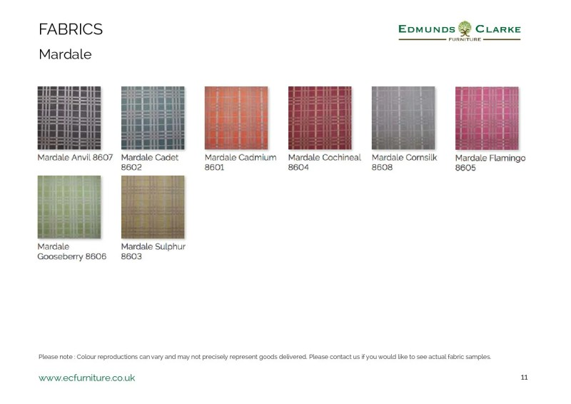 Mardale fabric swatches for our range of Edmunds dining chairs
