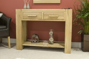 Newmarket solid oak chunky 2 drawer hall table with shelf