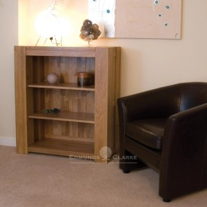 Newmarket chunky solid oak two shelf bookcase