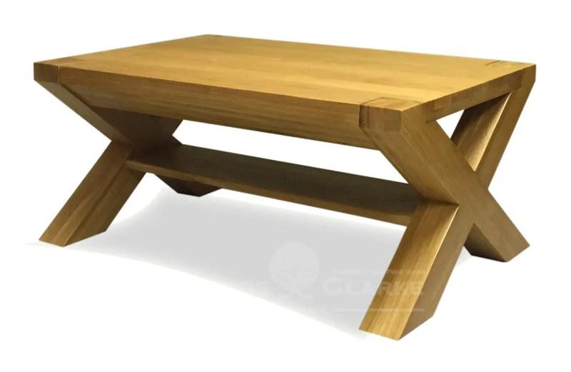 Solid oak cross leg coffee table 3' x 2'