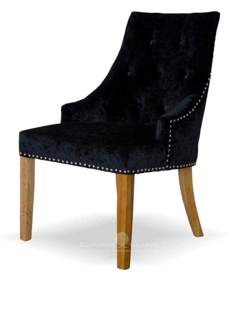 Bergen black crushed velvet dining chair. button back and oak legs