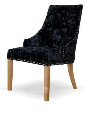 Bergen black deep crushed velvet dining chair. button back oak legs