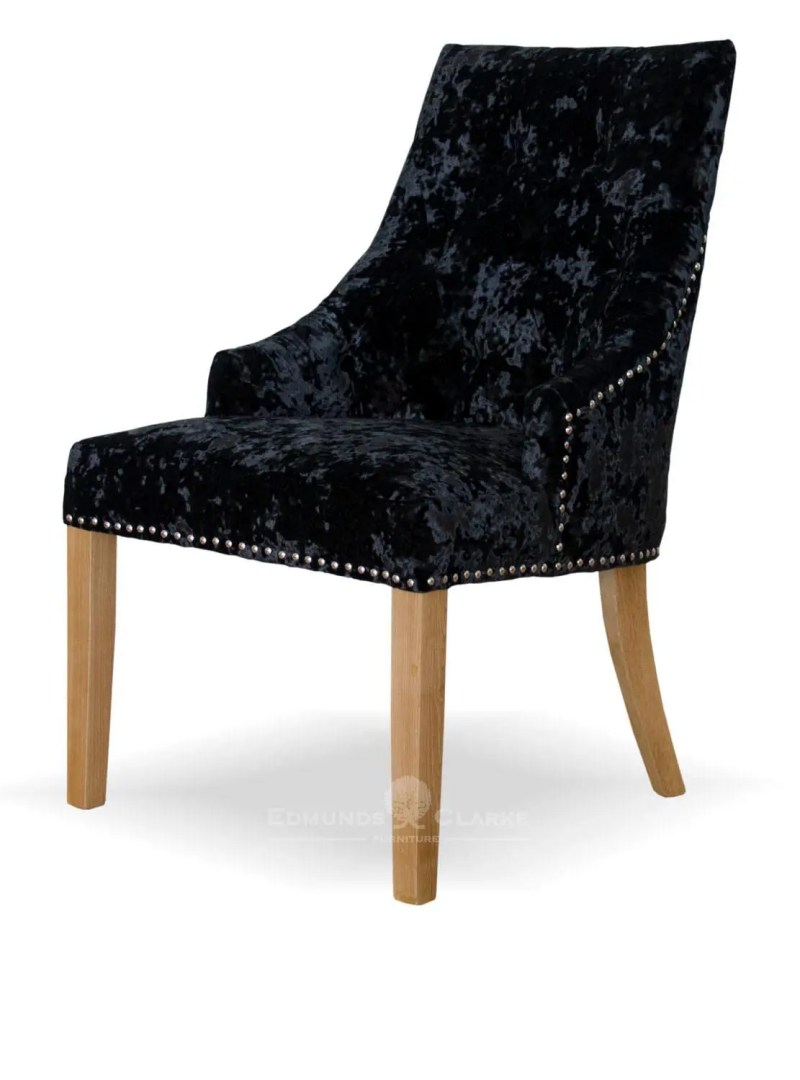 Bergen black deep crushed velvet dining chair. button back oak legs