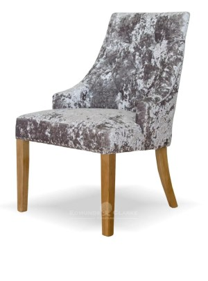 Bergen silver deep crushed velvet dining chair with oak legs, button back and studded edges