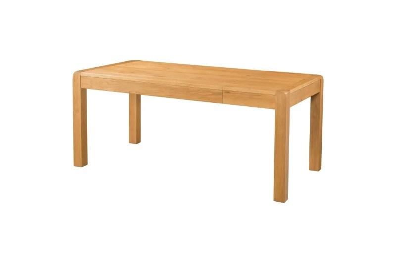 DAV027 Avon. Oak 180cm Extending Table, Medium waxed oak rounded edges. chunky square legs