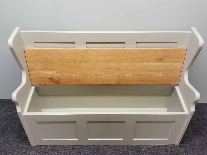 Monks bench with lift up oak lid painted in a choice of colours