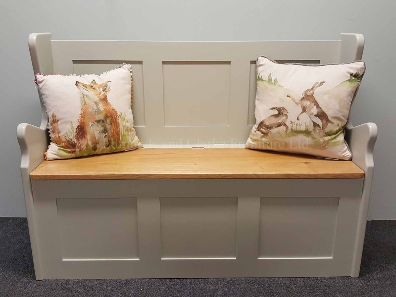 Monks bench painted with oak lift up lid 122cm wide