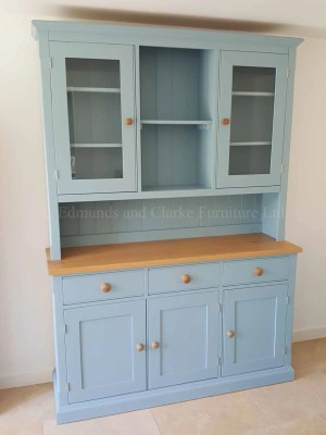 Painted 5ft Open Hutch Half Glazed Dresser. shown in Alde River and round oak knobs