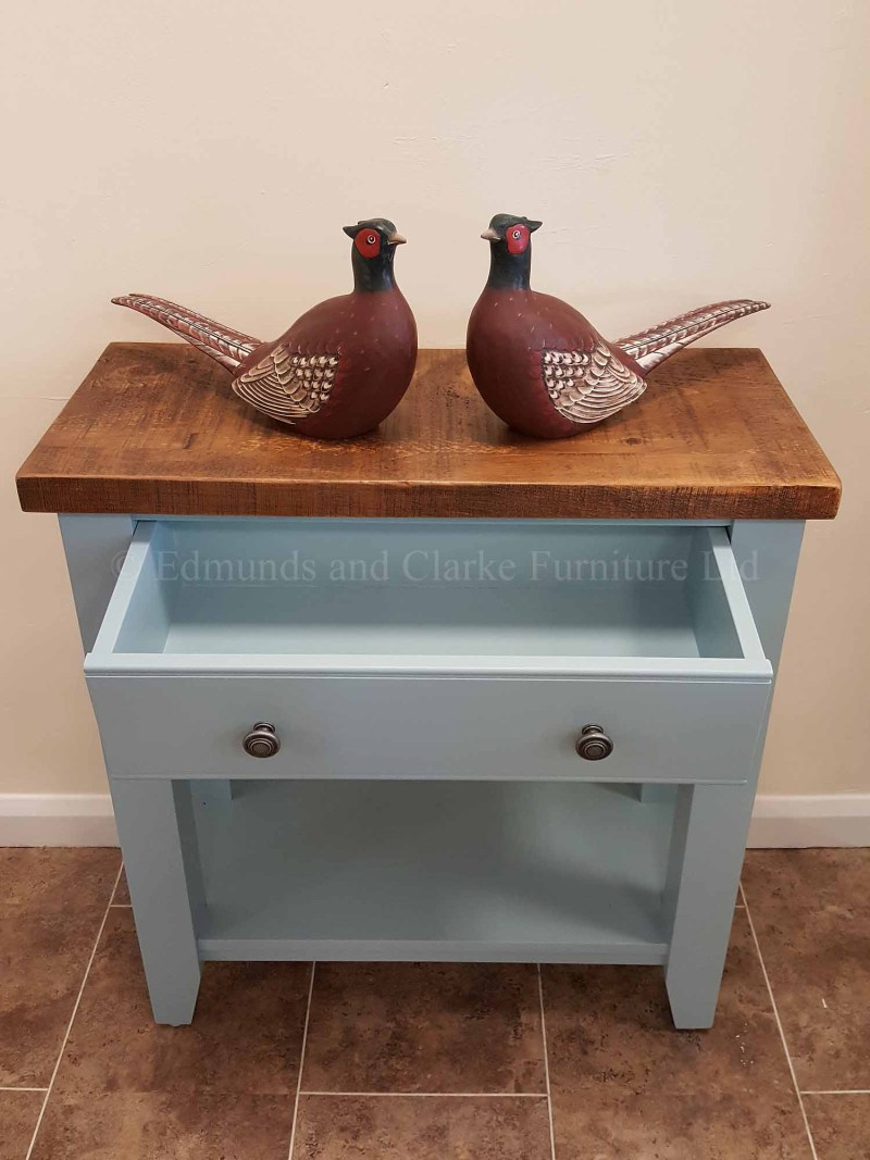 Edmunds painted single drawer console table shelf below, painted in choice of colours and tops