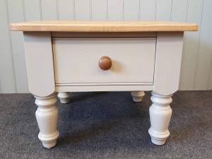 Edmunds Painted 1 Drawer Coffee Table. image showing oak top with round oak knob on the drawer. turned legs. various options available only at edmunds clarke