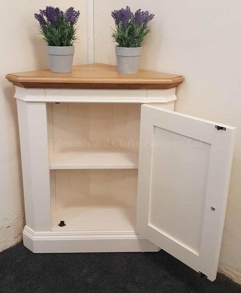 Painted low corner cupboard with oak top