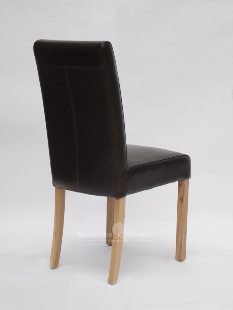 Mariana brown leather dining chair oak legs
