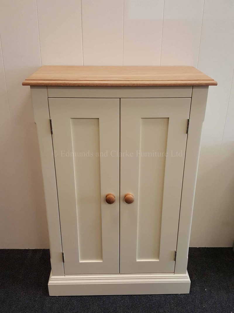 Shallow depth two door cupboard painted with oak top, choice of colors