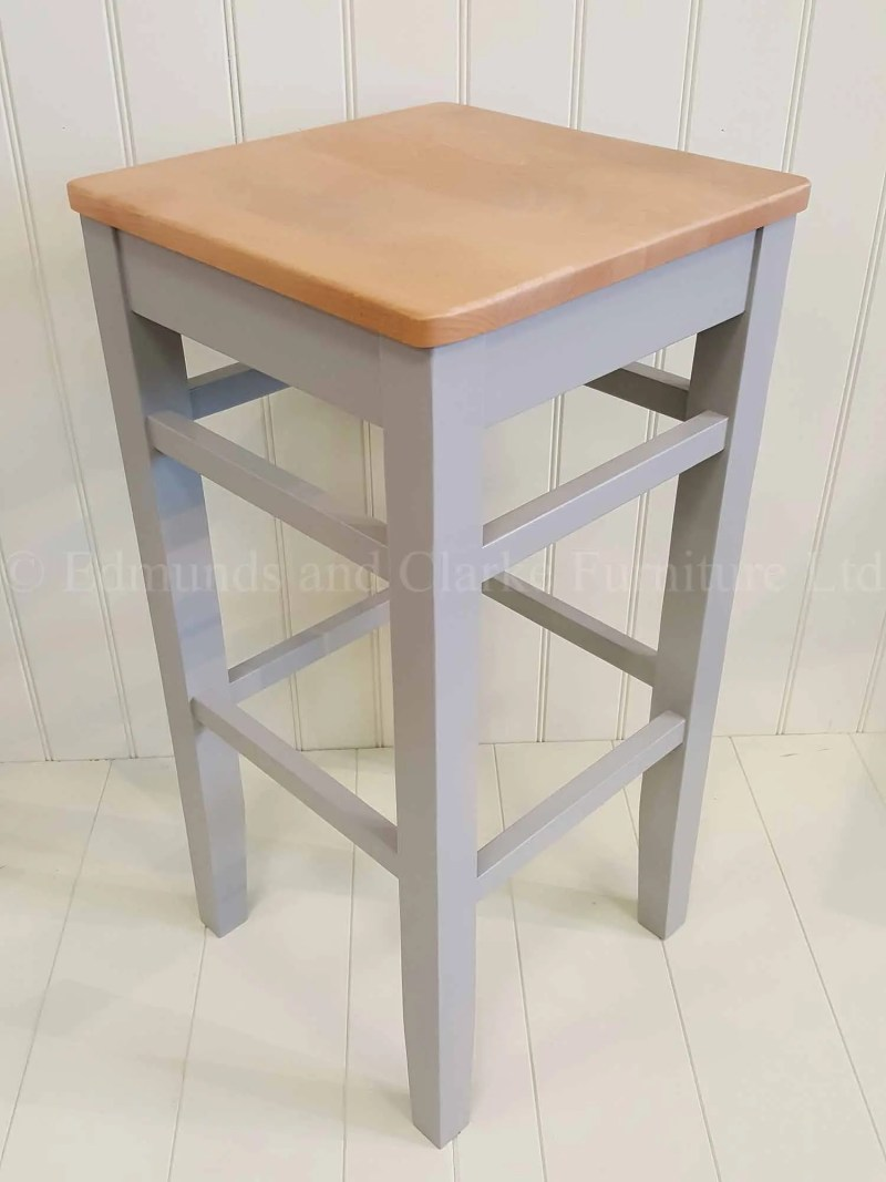 High shaker style square edge stool painted legs and wooden seat