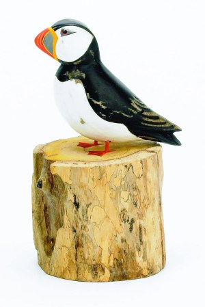 Archipelago Small Puffin Straight Wood Carving. sitting on wood block