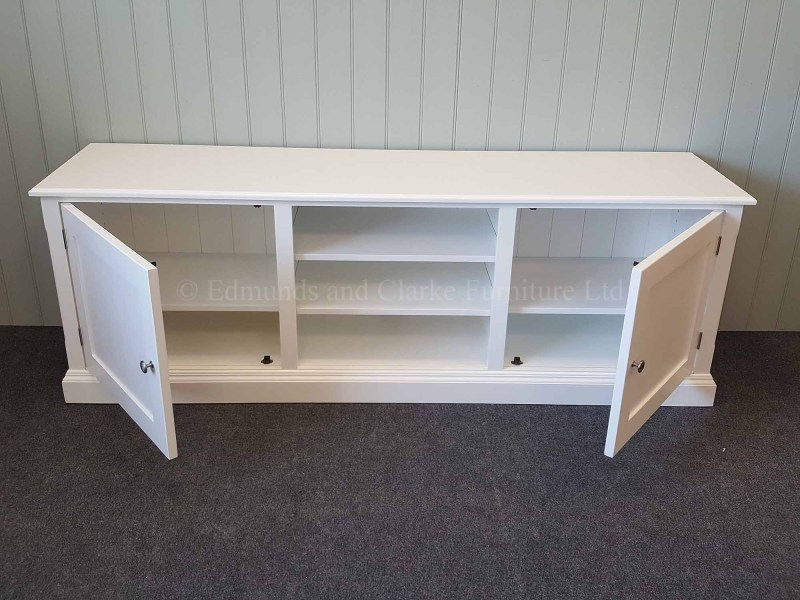 Edmunds 6 feet Tv entertainment unit painted white all over