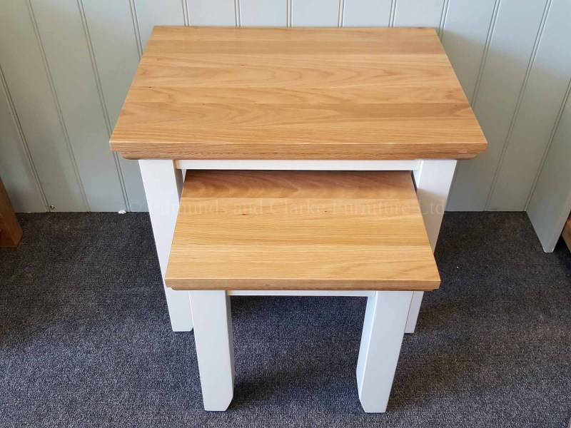 Edmunds nest of two tables painted in a choice of colours with oak top and mould under