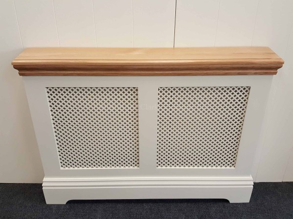 bespoke radiator cover, painted in a choice of colours with solid oak top