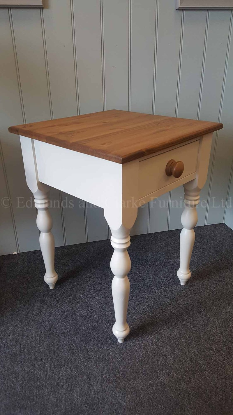 painted pine top lamp occasional table single drawer, choice of colours and tops