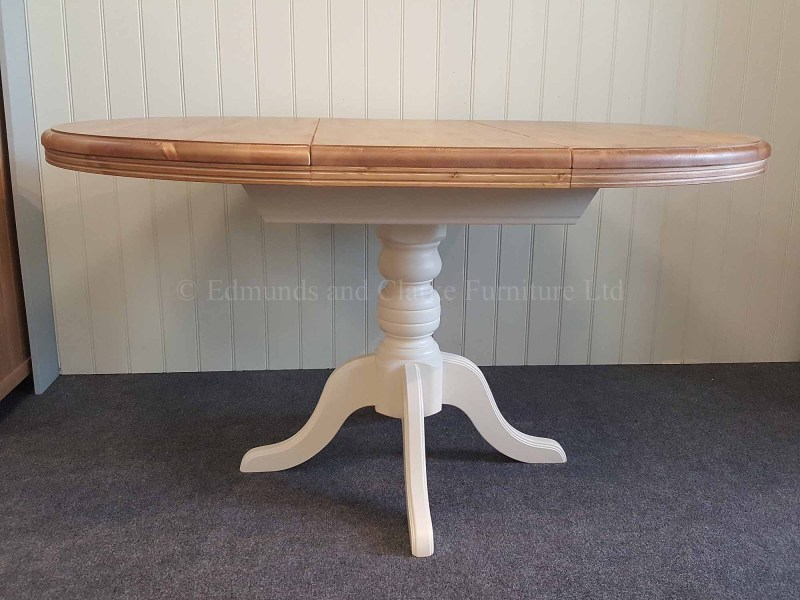 Pine painted central pedestal round extending table