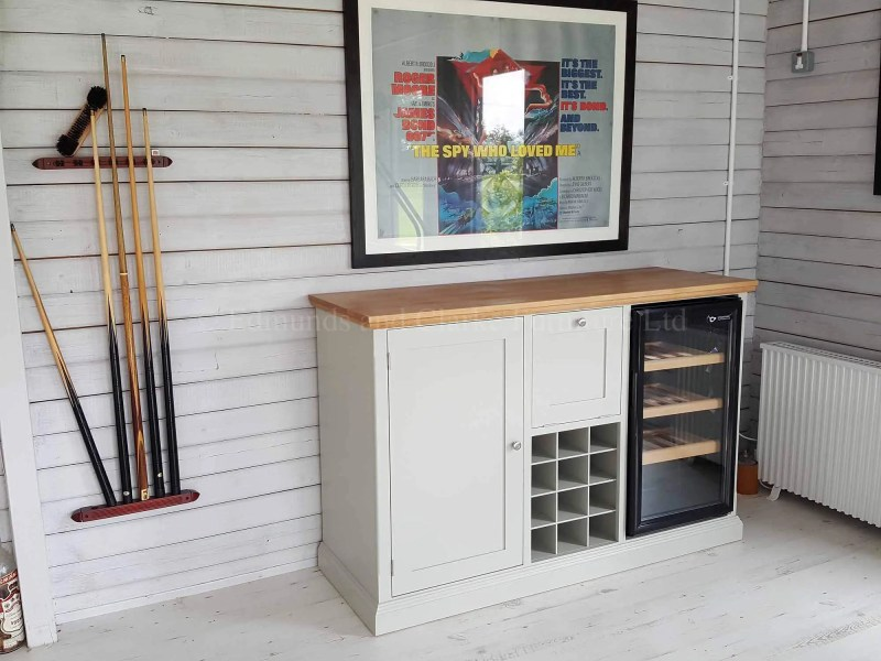 made to measure sideboard with wine rack and space for fridge