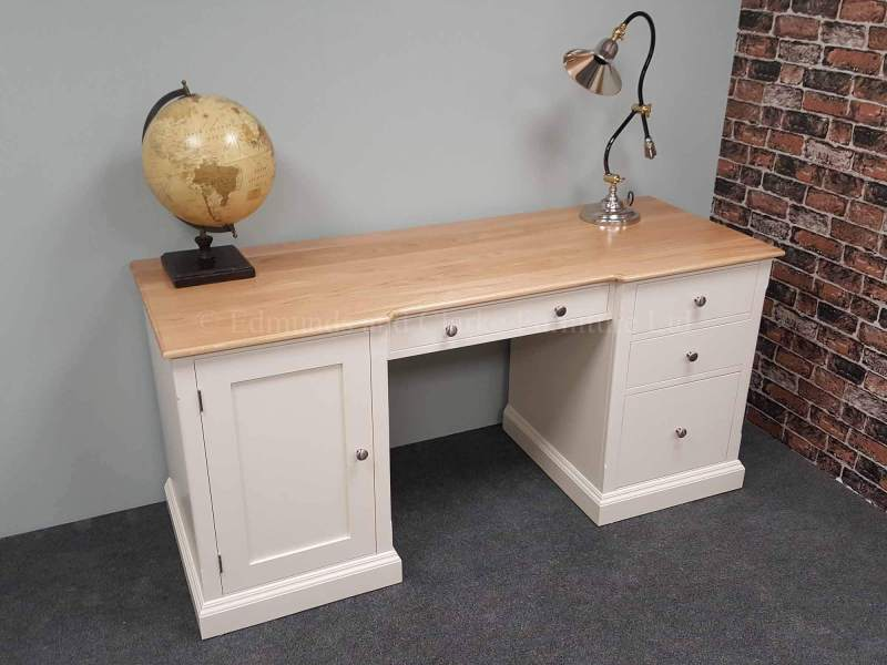 Large painted workstation desk, three drawers and left hand cupboard, drawer above kneehole