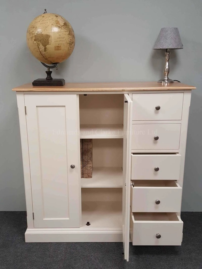 Painted cupboard with five drawers on right hand side, two internal adjustable shelves, choice of tops