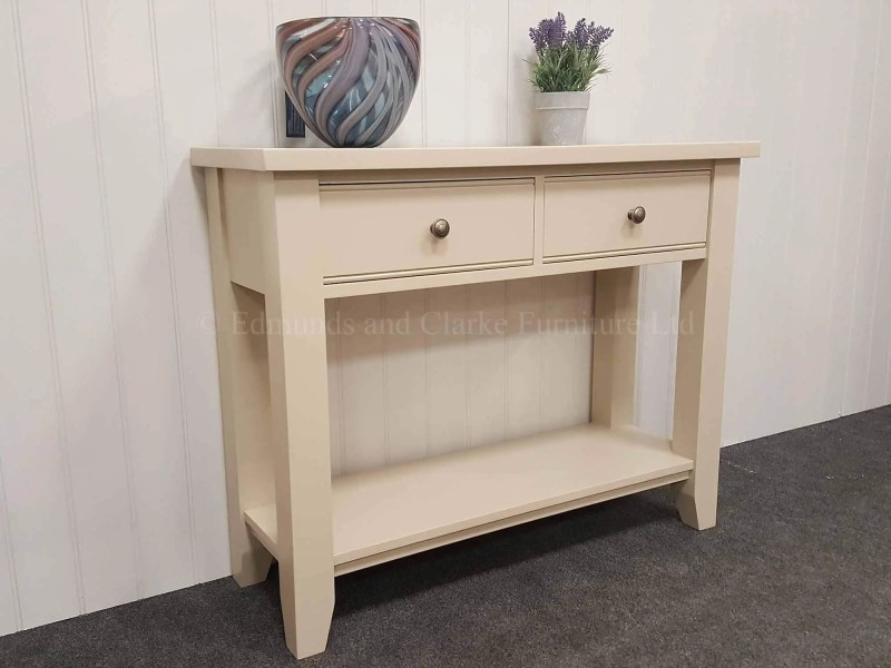 painted all over two drawer hall table with two drawers and a shelf below