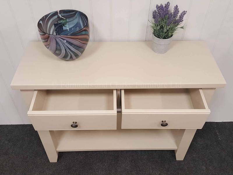 painted two drawer console table with shelf
