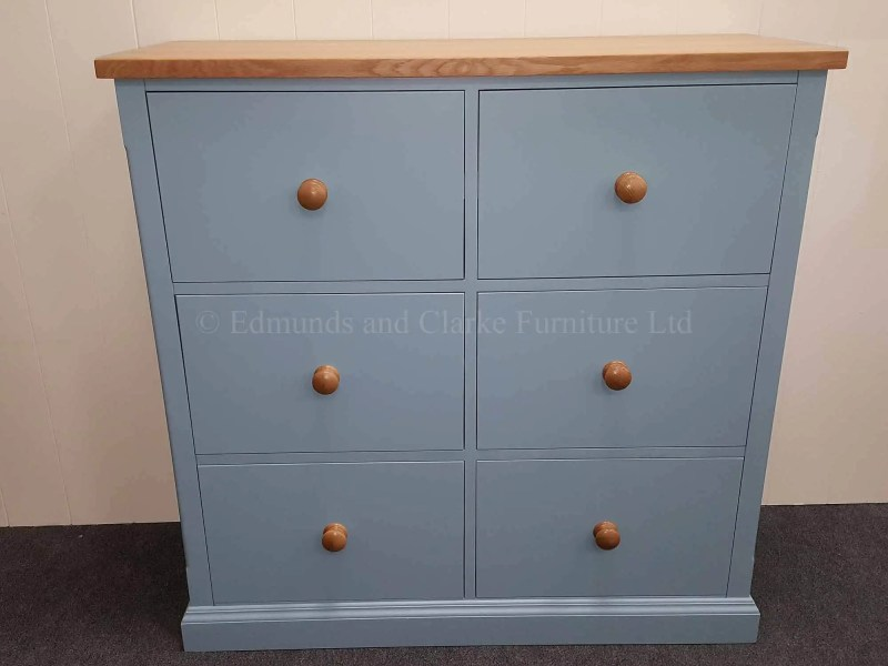 edmunds bespoke painted six drawer filing cabinet painted in alde river, oak top and matching knobs